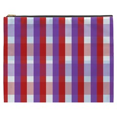 Gingham Pattern Checkered Violet Cosmetic Bag (XXXL)
