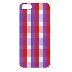 Gingham Pattern Checkered Violet Apple iPhone 5 Seamless Case (White)