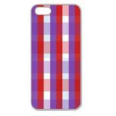 Gingham Pattern Checkered Violet Apple Seamless iPhone 5 Case (Clear)