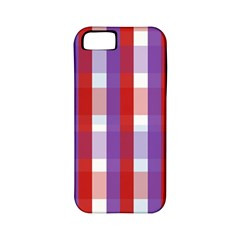 Gingham Pattern Checkered Violet Apple iPhone 5 Classic Hardshell Case (PC+Silicone)