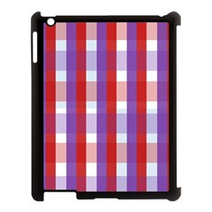 Gingham Pattern Checkered Violet Apple iPad 3/4 Case (Black)