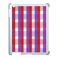 Gingham Pattern Checkered Violet Apple iPad 3/4 Case (White)