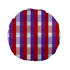 Gingham Pattern Checkered Violet Standard 15  Premium Round Cushions
