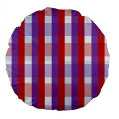 Gingham Pattern Checkered Violet Large 18  Premium Round Cushions