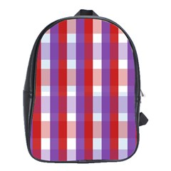 Gingham Pattern Checkered Violet School Bags (XL)