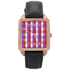 Gingham Pattern Checkered Violet Rose Gold Leather Watch