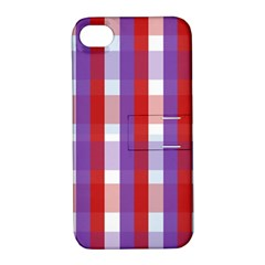 Gingham Pattern Checkered Violet Apple iPhone 4/4S Hardshell Case with Stand