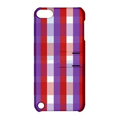Gingham Pattern Checkered Violet Apple iPod Touch 5 Hardshell Case with Stand