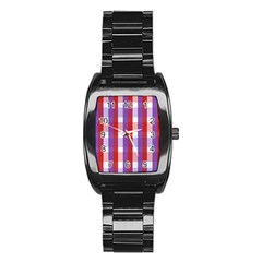 Gingham Pattern Checkered Violet Stainless Steel Barrel Watch