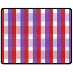 Gingham Pattern Checkered Violet Double Sided Fleece Blanket (Medium)