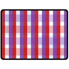 Gingham Pattern Checkered Violet Double Sided Fleece Blanket (Large)
