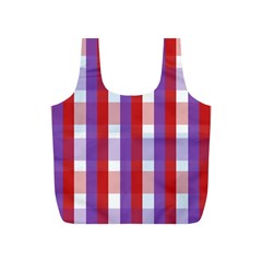 Gingham Pattern Checkered Violet Full Print Recycle Bags (S)
