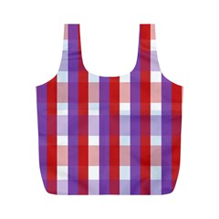 Gingham Pattern Checkered Violet Full Print Recycle Bags (M)