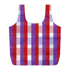 Gingham Pattern Checkered Violet Full Print Recycle Bags (L)