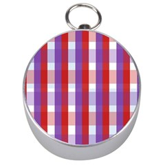 Gingham Pattern Checkered Violet Silver Compasses