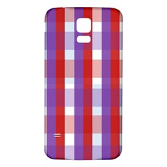 Gingham Pattern Checkered Violet Samsung Galaxy S5 Back Case (White)