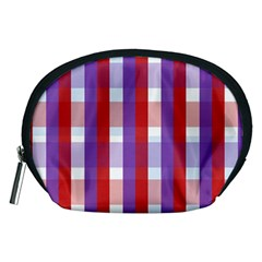 Gingham Pattern Checkered Violet Accessory Pouches (medium)