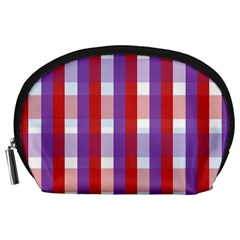 Gingham Pattern Checkered Violet Accessory Pouches (Large)