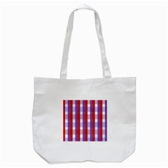 Gingham Pattern Checkered Violet Tote Bag (White)