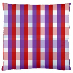 Gingham Pattern Checkered Violet Large Flano Cushion Case (Two Sides)