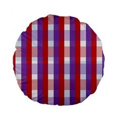 Gingham Pattern Checkered Violet Standard 15  Premium Flano Round Cushions