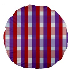 Gingham Pattern Checkered Violet Large 18  Premium Flano Round Cushions