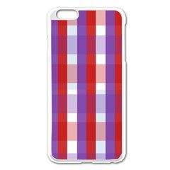 Gingham Pattern Checkered Violet Apple iPhone 6 Plus/6S Plus Enamel White Case