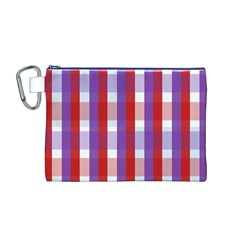 Gingham Pattern Checkered Violet Canvas Cosmetic Bag (m)