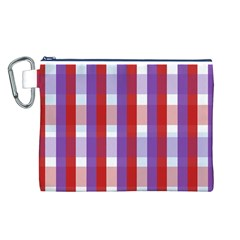 Gingham Pattern Checkered Violet Canvas Cosmetic Bag (L)