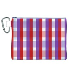 Gingham Pattern Checkered Violet Canvas Cosmetic Bag (XL)