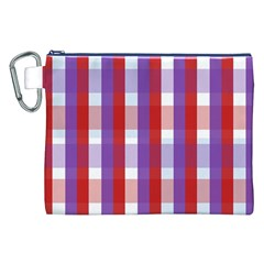 Gingham Pattern Checkered Violet Canvas Cosmetic Bag (XXL)