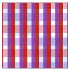 Gingham Pattern Checkered Violet Large Satin Scarf (Square)