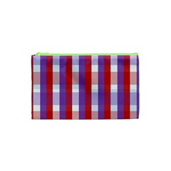Gingham Pattern Checkered Violet Cosmetic Bag (XS)