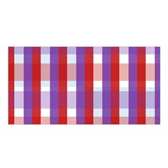 Gingham Pattern Checkered Violet Satin Shawl
