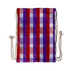 Gingham Pattern Checkered Violet Drawstring Bag (small)