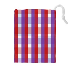 Gingham Pattern Checkered Violet Drawstring Pouches (extra Large)