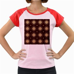 Seamless Ornament Symmetry Lines Women s Cap Sleeve T Shirt