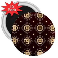 Seamless Ornament Symmetry Lines 3  Magnets (10 Pack)