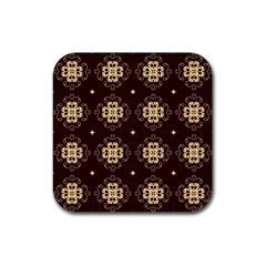 Seamless Ornament Symmetry Lines Rubber Square Coaster (4 Pack)