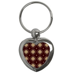 Seamless Ornament Symmetry Lines Key Chains (Heart)
