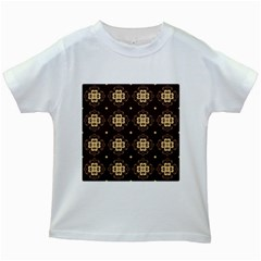 Seamless Ornament Symmetry Lines Kids White T-Shirts