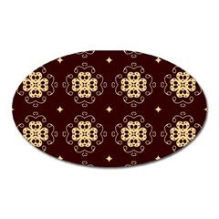 Seamless Ornament Symmetry Lines Oval Magnet