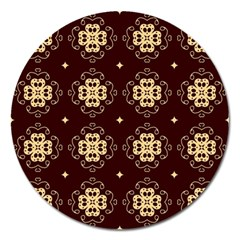 Seamless Ornament Symmetry Lines Magnet 5  (Round)