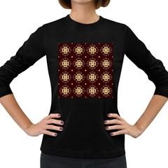 Seamless Ornament Symmetry Lines Women s Long Sleeve Dark T Shirts
