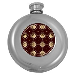 Seamless Ornament Symmetry Lines Round Hip Flask (5 oz)