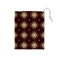 Seamless Ornament Symmetry Lines Drawstring Pouches (Medium)