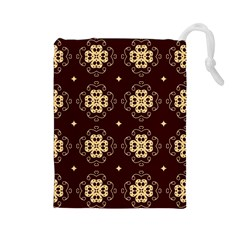 Seamless Ornament Symmetry Lines Drawstring Pouches (large)