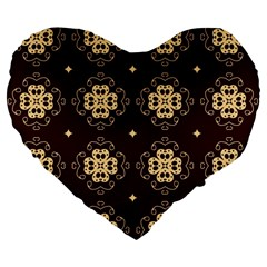 Seamless Ornament Symmetry Lines Large 19  Premium Flano Heart Shape Cushions
