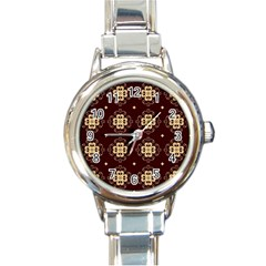 Seamless Ornament Symmetry Lines Round Italian Charm Watch