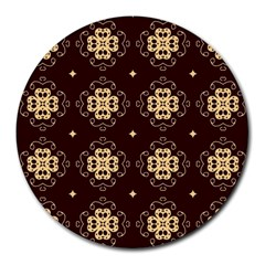 Seamless Ornament Symmetry Lines Round Mousepads